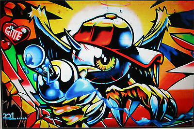 large graffiti wall oil painting street art Australia canvas abstract