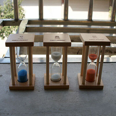 NEW Wooden Hourglass Sandglass Sand Clock Timer for Kids Brushing 3/5minutes LO