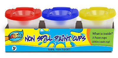 Paint Cups Set 3*200ml, No-Spill with Color-Coded Lids & caps, Set of 3
