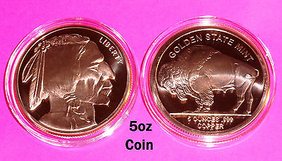 BIG 5oz Coin with Airtite • BUFFALO NICKEL Design • Copper Bullion