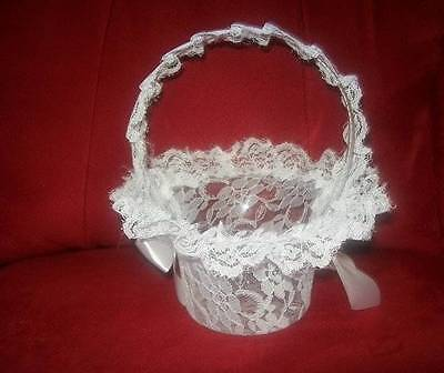 Wedding Flower Girl Basket White Lace New