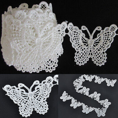 Chic White Butterfly Lace Edge Trim Ribbon Clothes Sewing Applique Vintage Craft