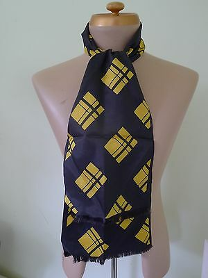 vintage retro 50s authentic mens silk dress scarf black yellow excellent