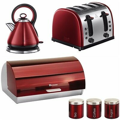 Russell Hobbs Red Kettle 4 Slice Toaster Breadbin 3 Canisters Kitchen Bundle SET
