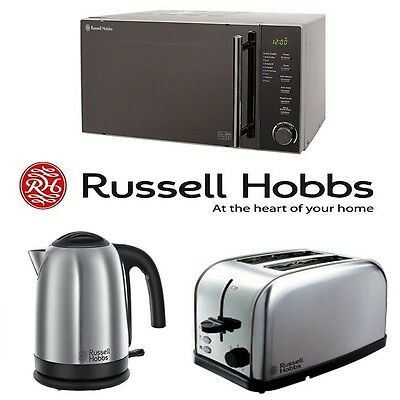 Russell Hobbs Silver Stainless Steel 20L Microwave Kettle 2 Slot Toaster Set NEW