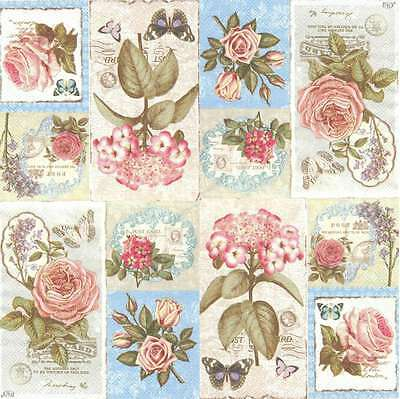 2 Serviettes en papier Fleur Rose Lyrique Decoupage Paper Napkins lyrical Flower