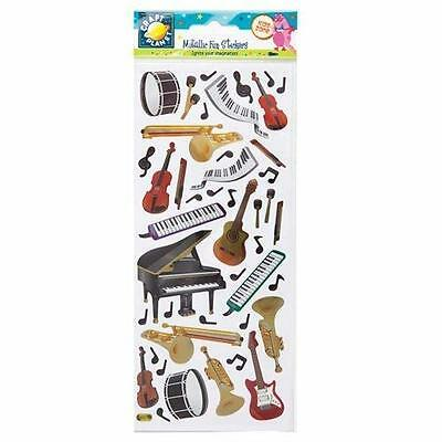 """Craft Planet Fun Foiled Stickers """" Music """" For Cards & Craft"""