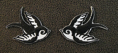 BLACK & WHITE SWALLOWS PAIR (S) Embroidered Iron Sew On Patch