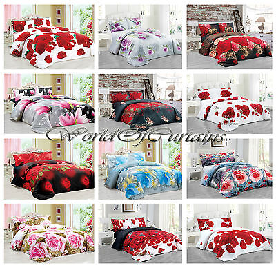 Duvet Cover with Pillow cases & Fitted Sheet  Bedding Set 3D Efect Floral Print