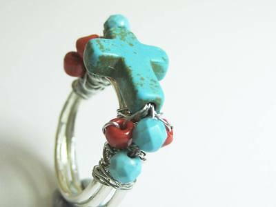 Sterling Silver RING with Turquoise coloured howlite stone CROSS and wire wrap