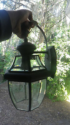 Vintage Outside Wall Light Bronze color Metal Verdigris Patina Drive Porch Lamp