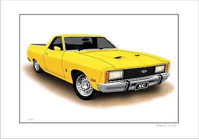 Ford  Xc  351 5.8  V8  Ute   Utility    Limited Edition Car Print  Drawing