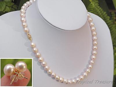 8-9mm AAA Grade White Pearl Necklace & Earrings14k SOLID GOLD