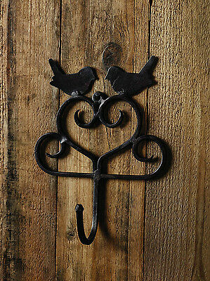 """Rustic Wrought Iron Wall Hook with Two Birds 7.5"""" high x 6"""" wide x 2"""" deep"""