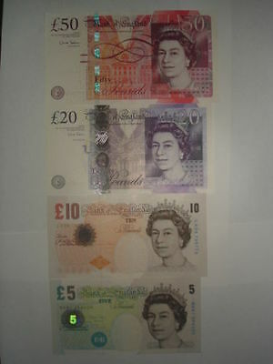"""UK British Bank England""£5+10+20+50 Pound""1set 4 GEM UNC banknotes"