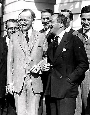 PRESIDENT CALVIN COOLIDGE w/ ENTERTAINER AL JOLSON IN 1924 - 8X10 PHOTO (CC-114)