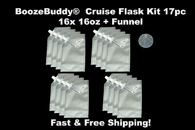 Plastic Flask Cruise Kit- runners fill w/ rum alcohol wine 16x 16oz + funnel