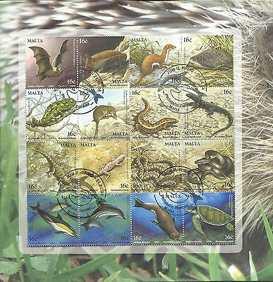 Malta 2004 Animals Reptiles Dolphins Snakes Sg1355-1370 Used Stamp Sheet