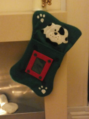 Bone Shaped Christmas Stocking For Your Dog * Clear Pocket For Photo *  Dac 13