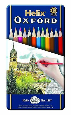 Helix Oxford Colouring Pencils - Metal Tin Pack of 12 Ideal Gift,Premium Pencils