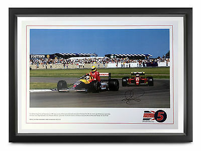Nigel Mansell SIGNED 'Red 5' 50x35cm Lithograph, Taxi For Ayrton Senna, BGP, COA