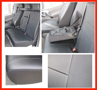 Tailored seat covers for Ford Transit Custom 2016  Leatherette  BLACK