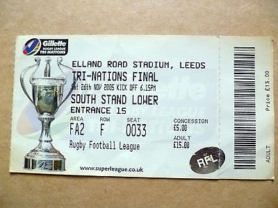 Ticket- Rugby League TRI Nations Final,AUSTRALIA V NEW ZEALAND, 26 November 2005