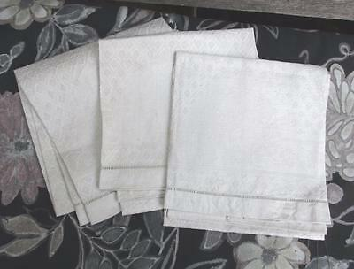 "3 Vintage 33 1/2"" Damask Off White  Linen Hand Guest Towels"