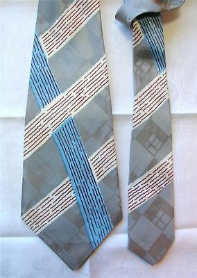 Vintage Late 1940's/early 50's Graphic Design Wide Jacquard Tie ~ Collectible!