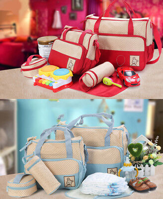 5 in1 New Born Baby Changing Diaper Nappy Bag Mummy Handbag Blue or Red