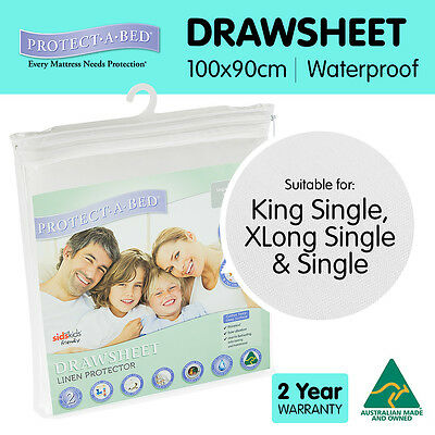 Protect a Bed Single Waterproof Bed Linen Protector Drawsheet 100 x 90cm