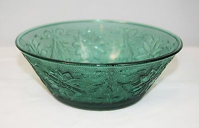 "Vintage INDIANA Tiara Spruce Green Sandwich Glass 8 1/4"" Veggie Serving Bowl"