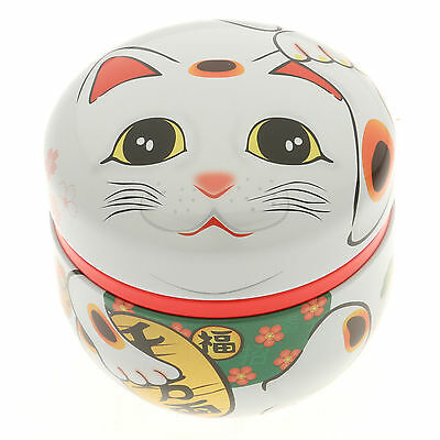 1x Japanese White Maneki Neko  Tea Canister#499-556