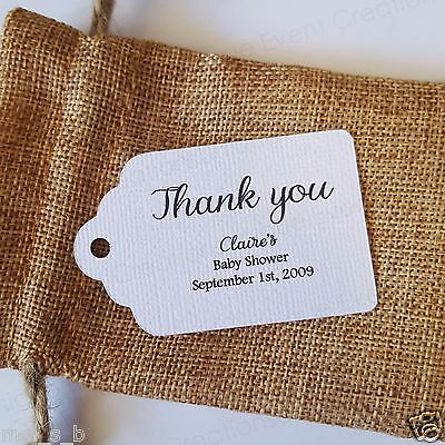 10x White Colour Baby Shower Thank You Gift Tags Bomboniere Favor personalised