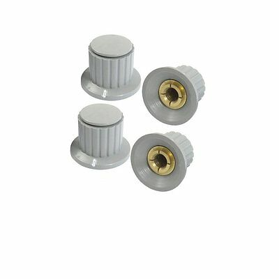 10 Pcs 6mm Shaft Insert Dia Brass  Potentiometer Control Knobs  Gray   1/4