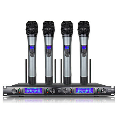 4 Channel 4 Handheld Mic PROFESSIONAL UHF WIRELESS MICROPHONE SYSTEM Metal EW240
