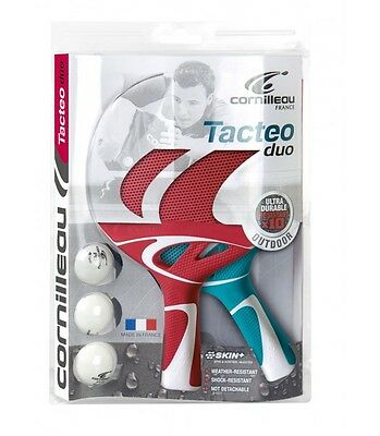 Cornilleau Pack Tacteo Duo - 2 Raquettes Ping Pong + 3 Balles