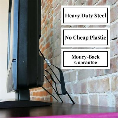 Home Anti-Tip Furniture TV Wall Strap Heavy Duty Safety Anchor Metal Mounting FW