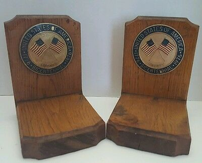 Vintage Bicentennial Wooden Bookends with Crossed Flags Liberty Medallions