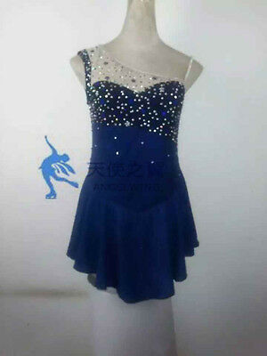 figure skating dress blue women ice competition skating clothing hot sale girls