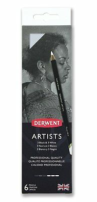 Derwent Artists 6 Tin Set of Professional Quality Black & White Colour Pencils