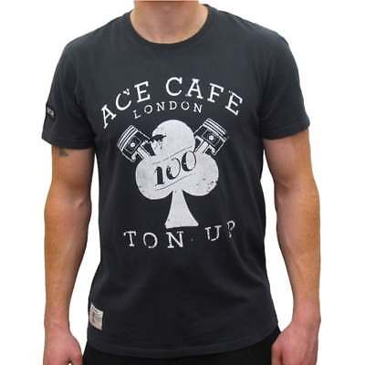 Red Torpedo Ace Cafe London Ton Up T-Shirt Black MENS