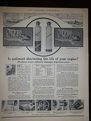 1919  Veedol Oil Advertisement Reduces Sediment Protects Your Engine