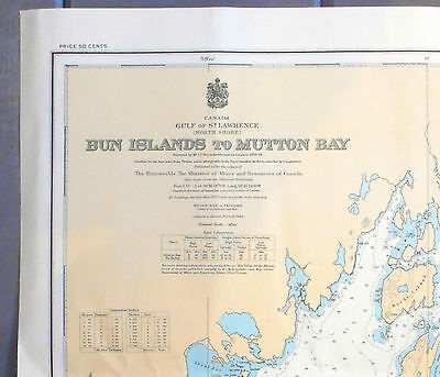 1939 WWII Nautical Sea Sailing Chart Map Mutton Bay Quebec St Lawrence Canada