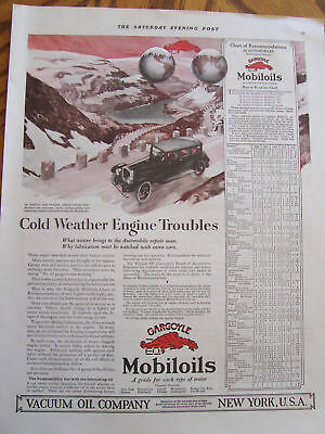 1920 Gargoyle Mobileoils Advertisment With Car Chart