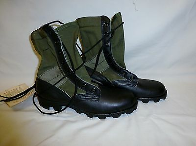 Vintage Vietnam Era Military Jungle Tropical Boots OD Canvas Leather 5.5 XN New