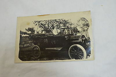 1914 Vintage B/W Photo Postcard Man in Oldtime Car Convertible (#42)  900