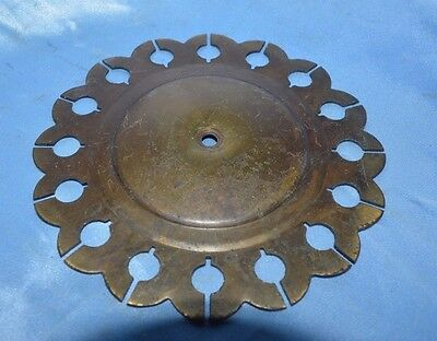 Vintage Brass Color Metal Round Face Plate Center Hold Hardware Accent