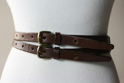 Vtg 90s Double Buckle Coffee Leather Ann Taylor Belt Great Design M