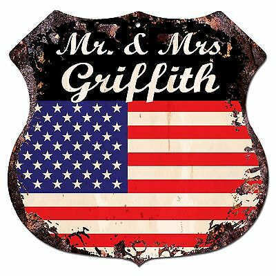 BPLU0369 America Flag MR. & MRS GRIFFITH Family Name Sign Decor Wedding Gift